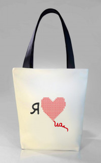 Сумка Shopper Bag №316, Я люблю Ua, біла
