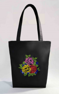 Сумка Shopper Bag №323, Розы, черная