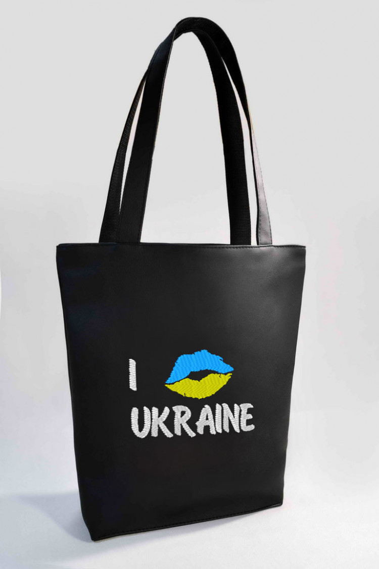 Сумка Shopper Bag №321, I love Ukraine, чорна