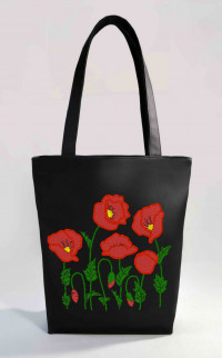 Сумка Shopper Bag №352, Маки, черная