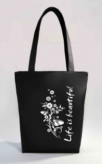 Сумка Shopper Bag №354, Life is Beautiful, черная