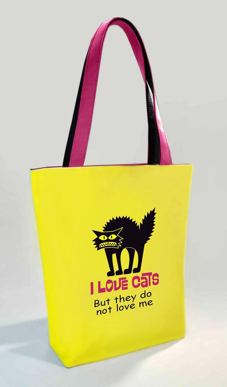 4fc072bfe513 Сумка Shopper Bag №361-1, I love сats, желтая с розовыми ручками ...