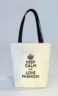 Сумка Shopper Bag №301, Keep calm, біла