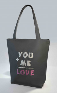 Сумка Shopper Bag №302, You+Me=Love, серая