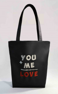 Сумка Shopper Bag №302, You+Me=Love, чорна