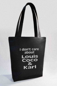 "Сумка Shopper Bag №345, i don""t care about louis coco & karl, чорна"