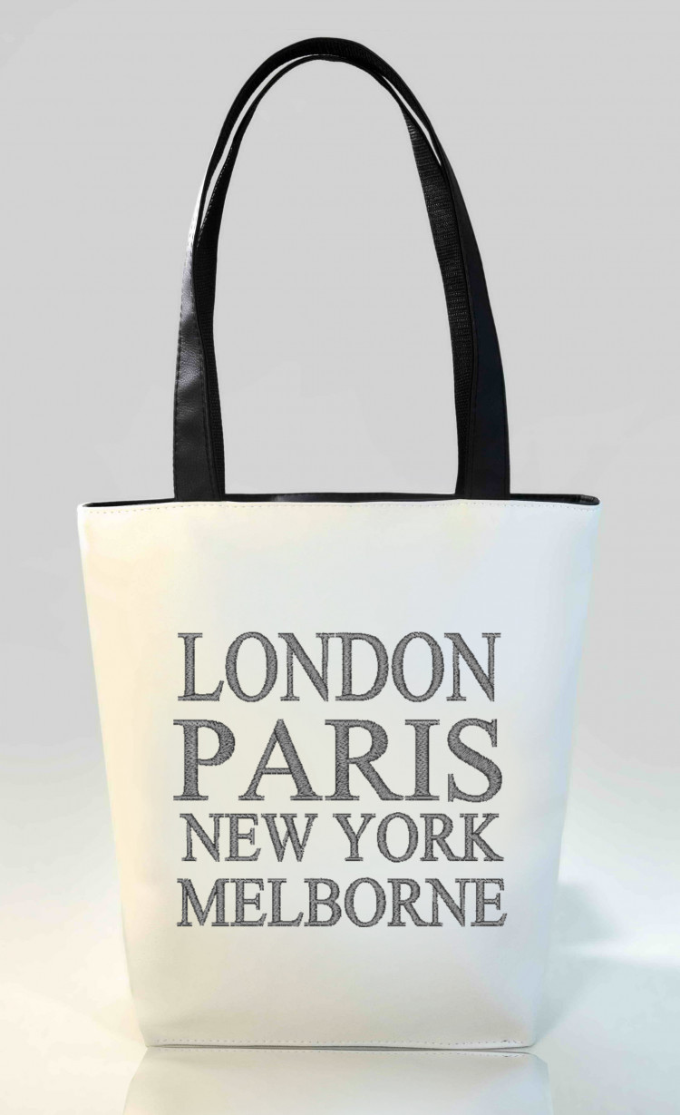 Сумка Shopper Bag №346, London, Paris, New York, Melborne, белая с черным