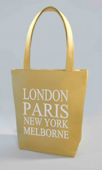 Сумка Shopper Bag №346, London, Paris, New York, Melborne, бежевая